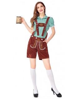Dame Tradisjonell Bayersk Oktoberfest Lederhosen Kostyme Grønn Brun