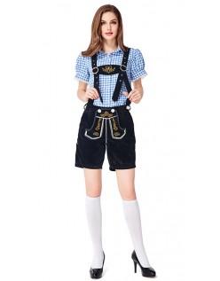 Dame Tradisjonell Bayersk Oktoberfest Lederhosen Kostyme Blå Svart