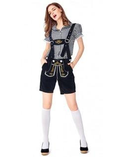 Dame Tradisjonell Bayersk Oktoberfest Lederhosen Kostyme Svart Svart