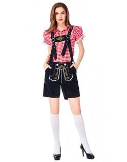 Dame Tradisjonell Bayersk Oktoberfest Lederhosen Kostyme Rød Svart