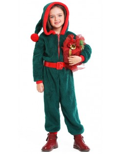 Julekostyme Med Hette Barn Pajamas Grønn Nissekostyme