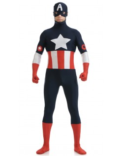 Lycra Herre Captain America Kostyme Svart