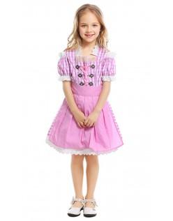 Tyroler Oktoberfest Kostyme for Barn Rosa Stuepike Kjole