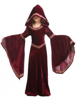 Jenter Halloween Vampyr Kostyme Barn Hette Robe Rød