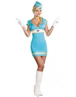 Sexy Blå Flyvertinnene Kostyme
