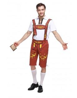 Bavarian Oktoberfest Lederhosen Kostyme Gul