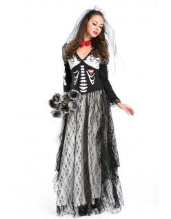 Halloween Skjelett Zombie Kostyme