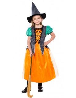 Oransje Magisk Halloween Heksedragt For Barn