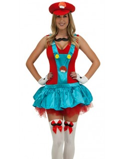 Rød Rørlegger Kostyme Super Mario Kostyme Dame