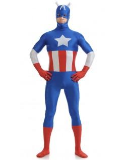 Lycra Herre Captain America Kostyme Blå