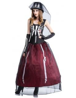 Ms. Bones Skjelett Kostyme HalloweenKostyme Dame