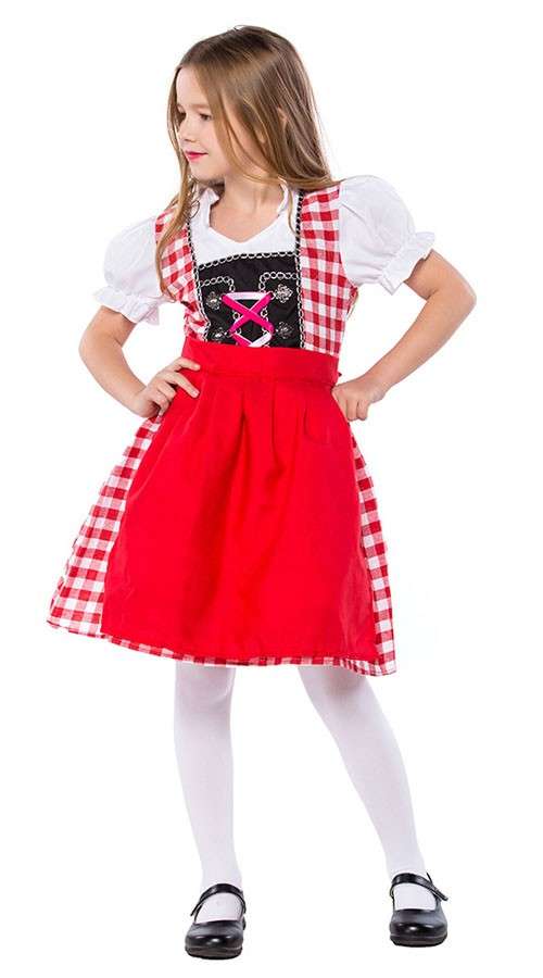 f3ea95da Rød Bayersk Oktoberfest Kostyme For Barn Heidi Kjole